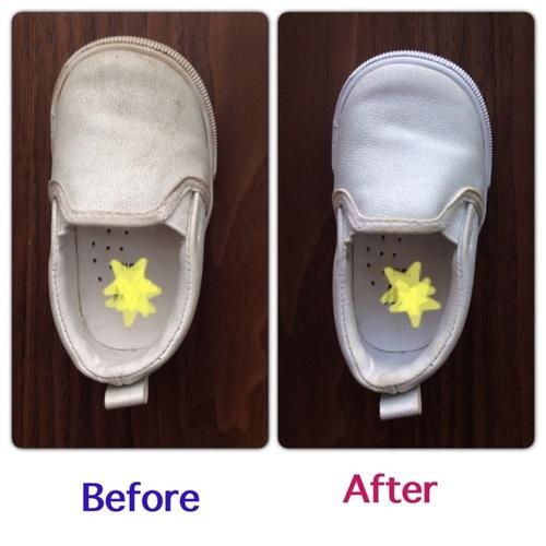 真っ黒に汚れた子どもの靴も!白いスニーカーを簡単ケアでキレイにする方法のタイトル画像