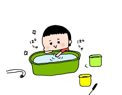 夏真っ盛り!2歳になる我が子、おうち水遊びは「○○型」!? ハナペコ絵日記<15>の画像12