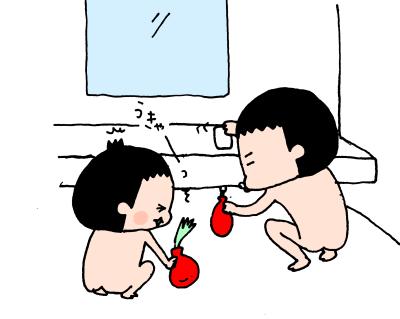 遊ぶ・遊ぶ・ひたすら遊ぶ!3兄妹のお風呂遊びはとにかく激しい~! ハナペコ絵日記<17>の画像7