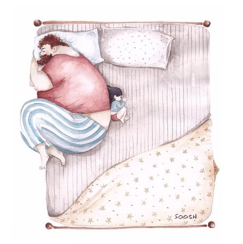 「大きなパパと小さな娘」のイラストに、世界中が心温まる!のタイトル画像