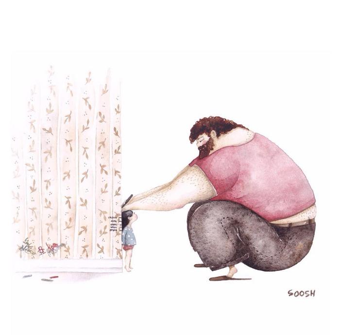 「大きなパパと小さな娘」のイラストに、世界中が心温まる!の画像3