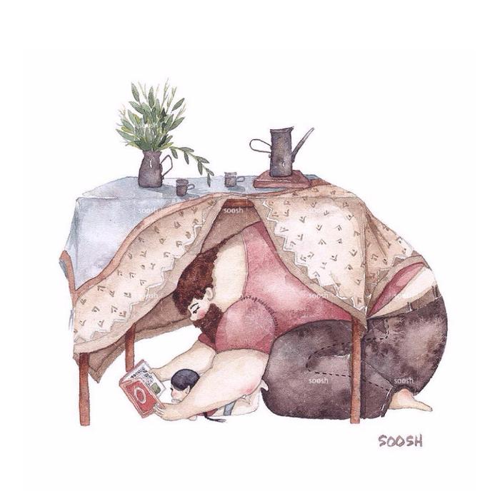 「大きなパパと小さな娘」のイラストに、世界中が心温まる!の画像1