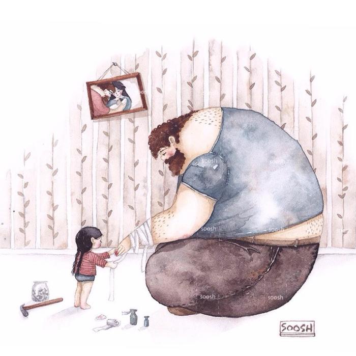 「大きなパパと小さな娘」のイラストに、世界中が心温まる!の画像10