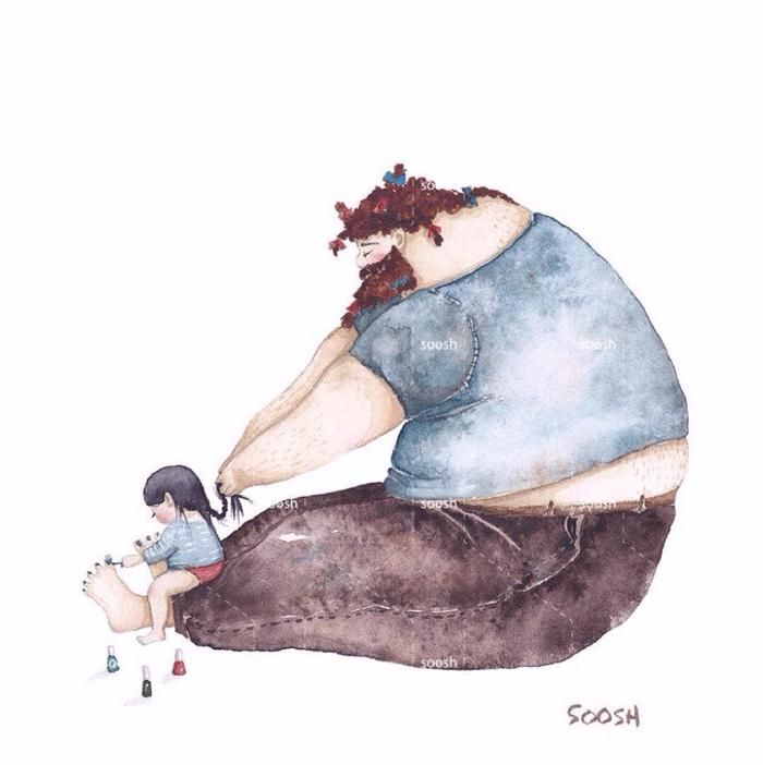 「大きなパパと小さな娘」のイラストに、世界中が心温まる!の画像2