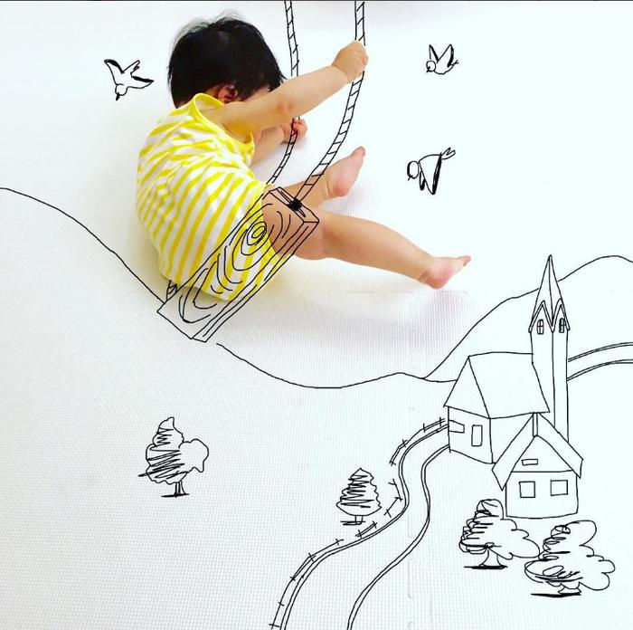 寝相アートに新ジャンル?インスタママが描く「寝相らくがきアート」の世界観が、好き♡の画像9