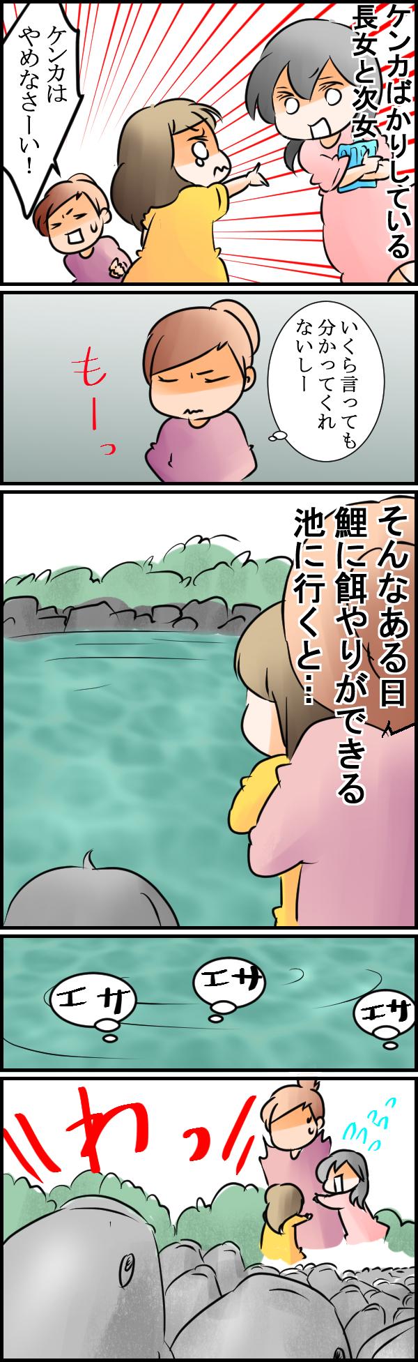 あ、それ言っちゃう?(笑)喧嘩ばかりの次女が鯉の餌やりで放ったひとことの画像1
