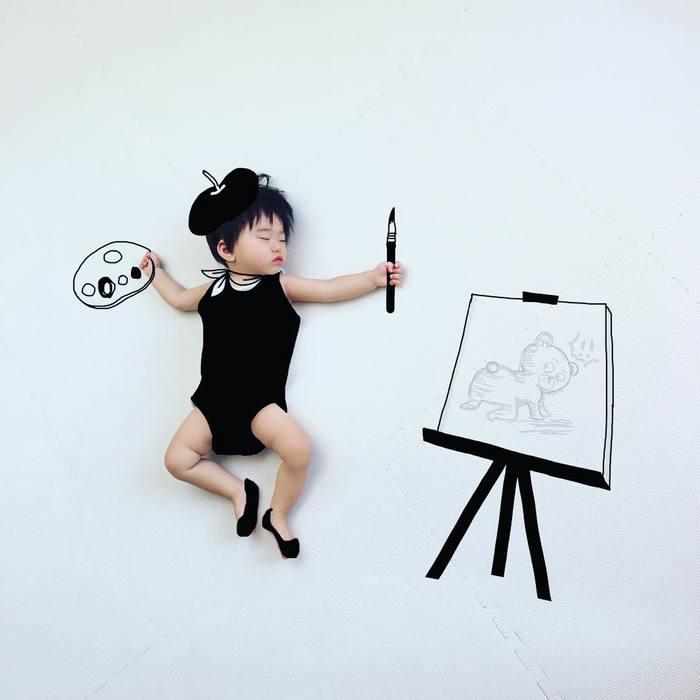 「寝相らくがきアートのコツは?どういう風に描いてるの?」お聞きしました!!の画像19