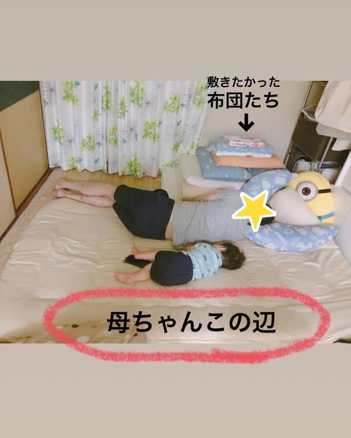 まるで事件現場?!1歳児と家族の「寝相日記」が面白い!の画像18