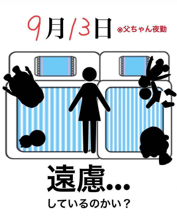 まるで事件現場?!1歳児と家族の「寝相日記」が面白い!の画像5