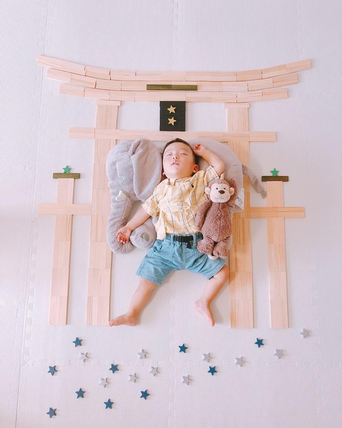 パズルや積み木を使った「進化系お昼寝アート」が可愛すぎて真似したい♡の画像19