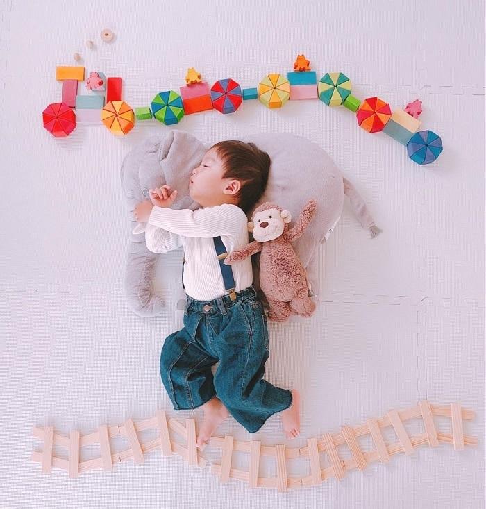 パズルや積み木を使った「進化系お昼寝アート」が可愛すぎて真似したい♡の画像8