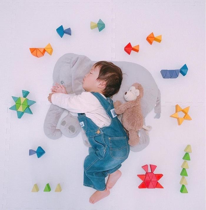 パズルや積み木を使った「進化系お昼寝アート」が可愛すぎて真似したい♡の画像2