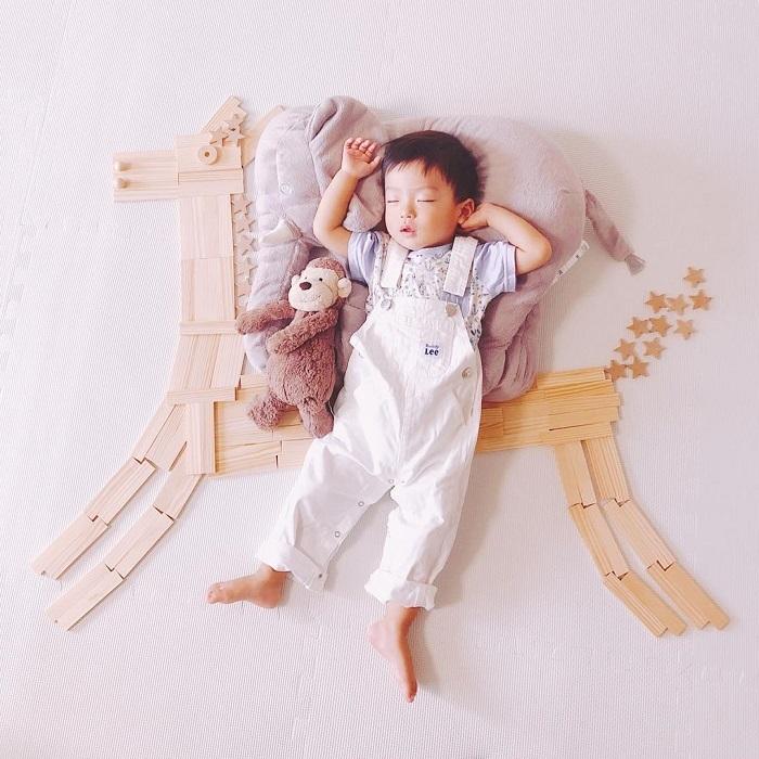 パズルや積み木を使った「進化系お昼寝アート」が可愛すぎて真似したい♡の画像24