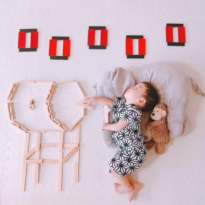 パズルや積み木を使った「進化系お昼寝アート」が可愛すぎて真似したい♡の画像10