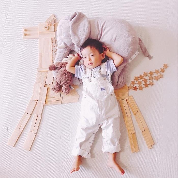 パズルや積み木を使った「進化系お昼寝アート」が可愛すぎて真似したい♡の画像25