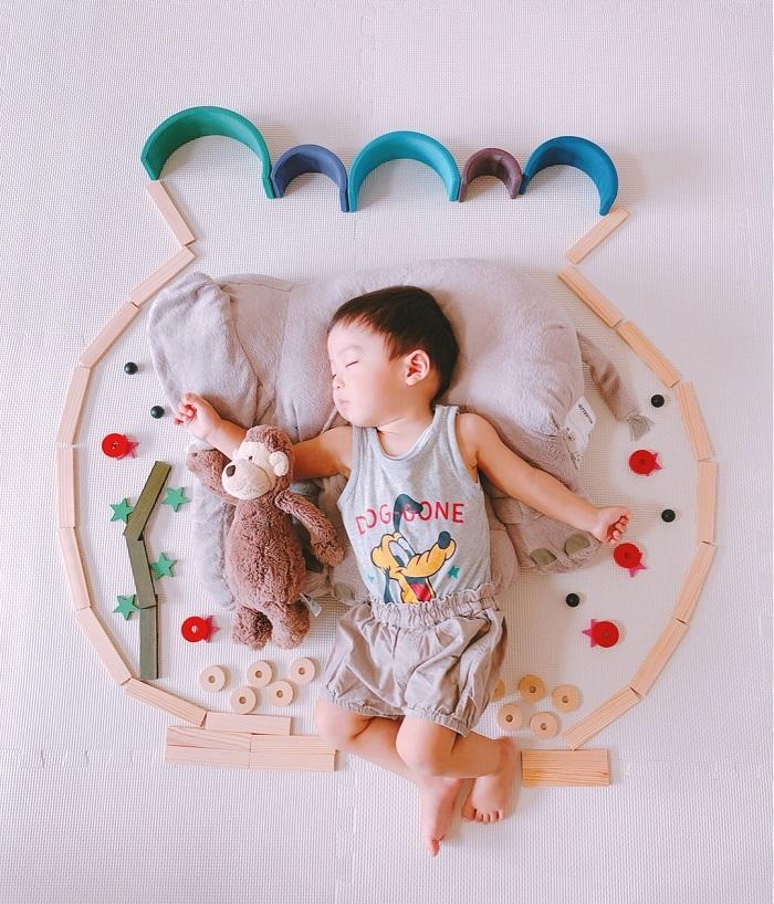 パズルや積み木を使った「進化系お昼寝アート」が可愛すぎて真似したい♡の画像1