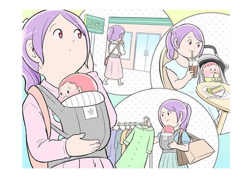 赤ちゃんを連れてコンビニ、外食、ショッピングモール。いつごろからOK?のタイトル画像